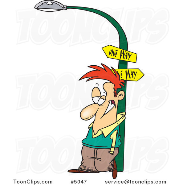 Cartoon Guy Leaning Against a Lamp Post #5047 by Ron Leishman