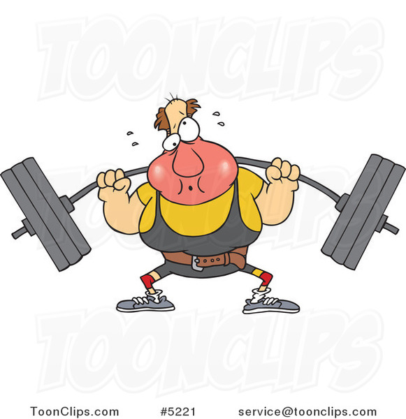 Cartoon Guy Lifting a Barbell