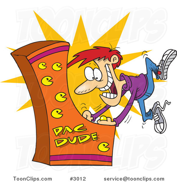 Cartoon Guy Playing an Arcade Game #3012 by Ron Leishman