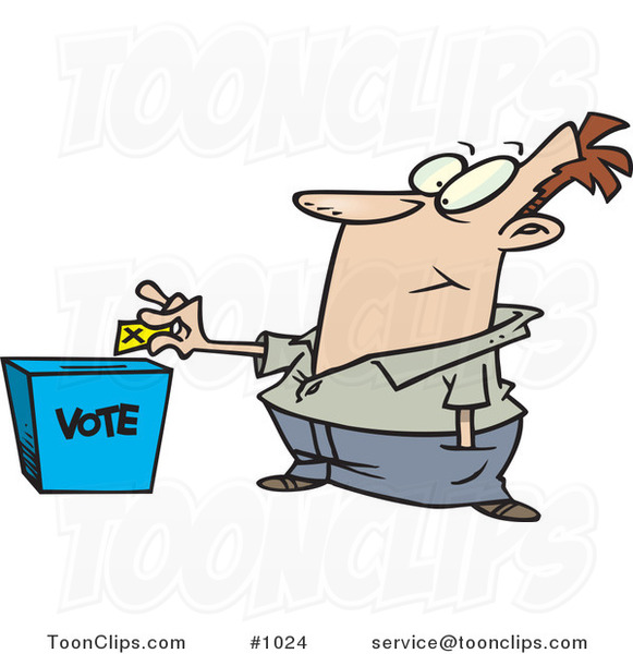 Cartoon Guy Putting His Ballot into a Vote Box #1024 by ...