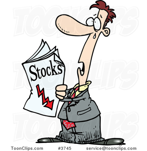 Cartoon Guy Reading Bad News in the Stocks Pages