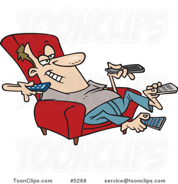 Cartoon Guy Sitting in a Recliner and Holding Many Remote Controls
