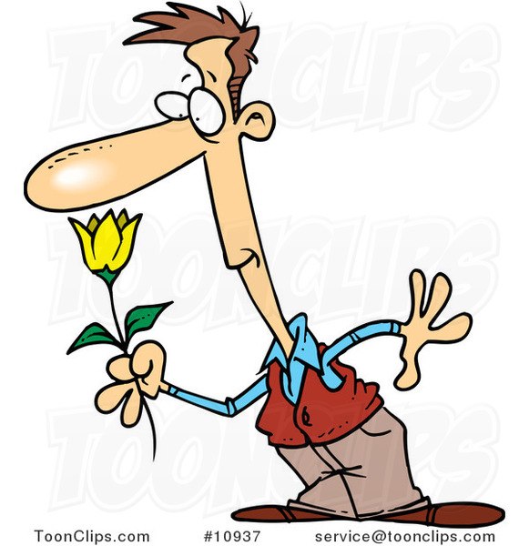 Cartoon Guy Smelling a Spring Flower