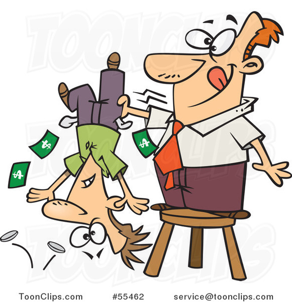 Cartoon Guy Standing on a Stool and Shaking Money from a Guys Pockets