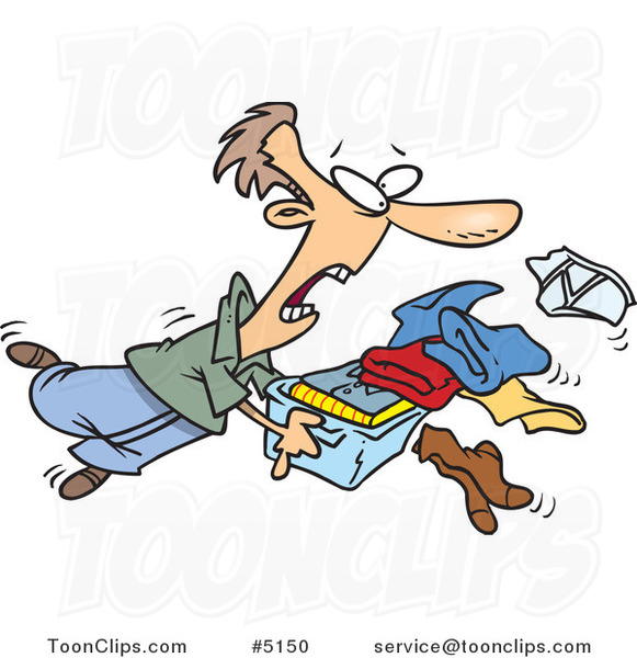 Thanksgiving Images 2017 >> Cartoon Guy Tripping and Dumping Folded Laundry #5150 by Ron Leishman