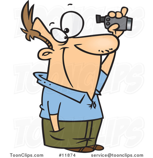 Cartoon Guy Using a Home Video Camera