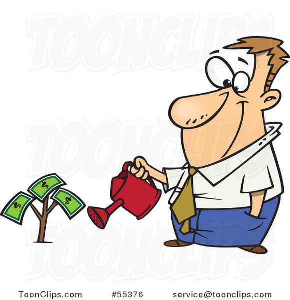 Cartoon Guy Watering His Money Plant