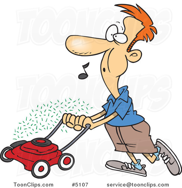 Cartoon Guy Whistling and Mowing His Lawn