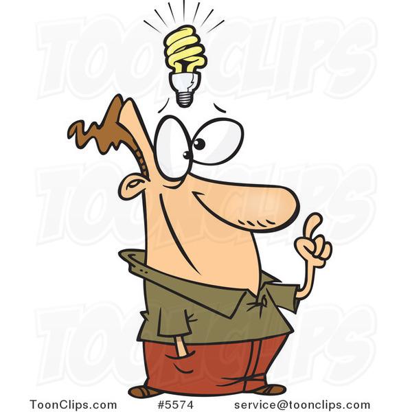 Cartoon Guy With A Halogen Light Idea 5574 By Ron Leishman