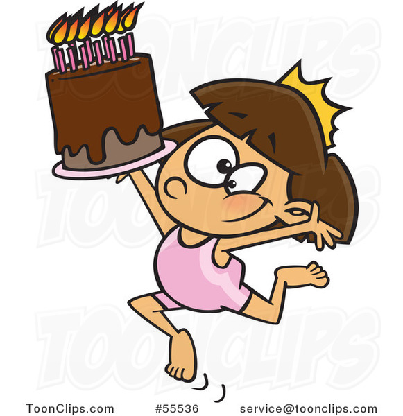 Cartoon Gymnastics Princess Girl with a Tiara and Birthday Cake