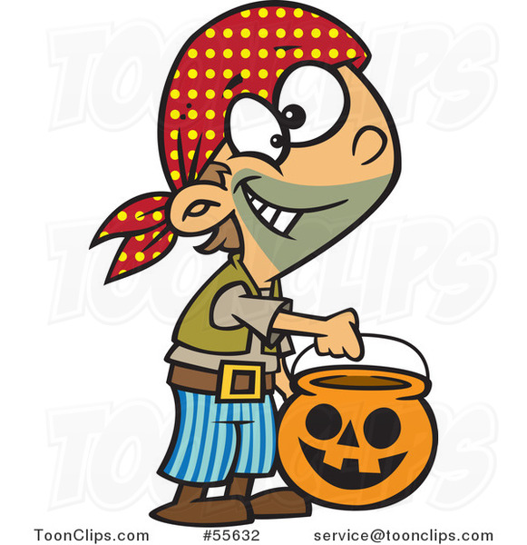 Cartoon Halloween Boy Trick or Treating As a Pirate
