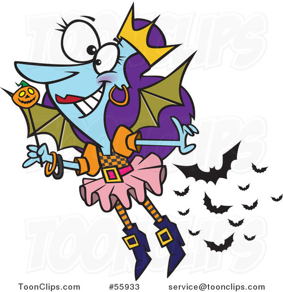 Cartoon Halloween Fairy with Bats