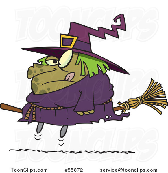 Cartoon Halloween Fat Witch on a Broomstick