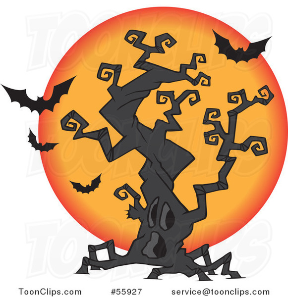 Cartoon Halloween Spooky Tree with a Full Moon and Bats