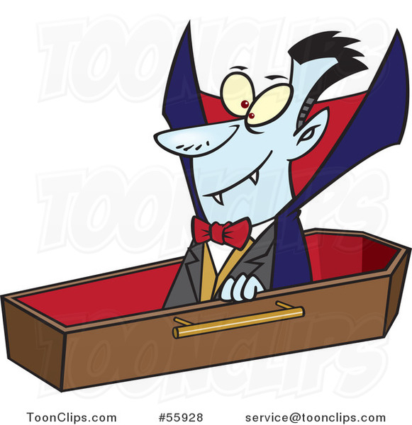 Cartoon Halloween Vampire Dracula Rising from His Coffin