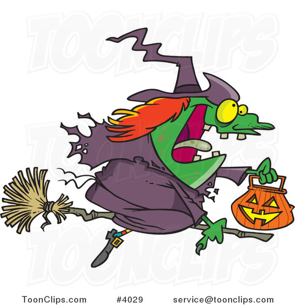 Cartoon Halloween Witch Flying on Her Broom