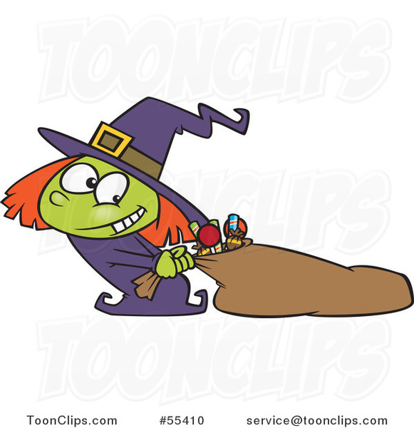 Cartoon Halloween Witch Girl Hauling Her Candy Sack
