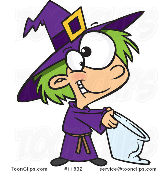 Cartoon Halloween Witch Girl Trick or Treating