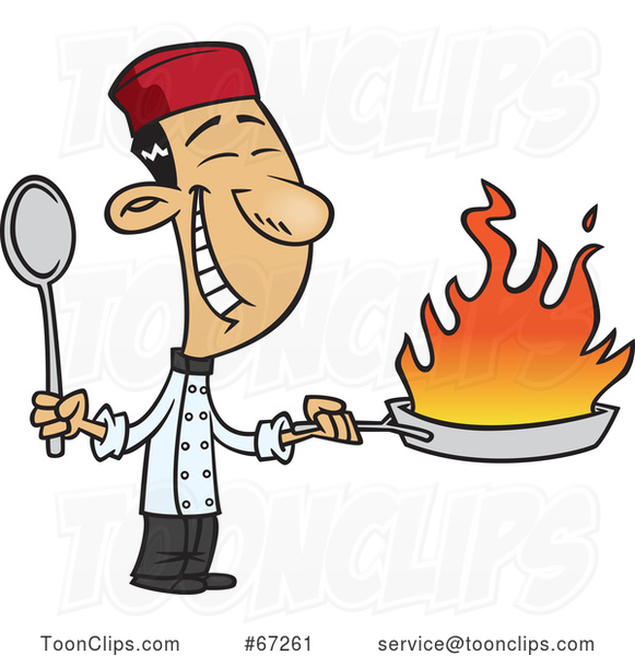 Cartoon Happy Asian Chef Holding a Flaming Wok