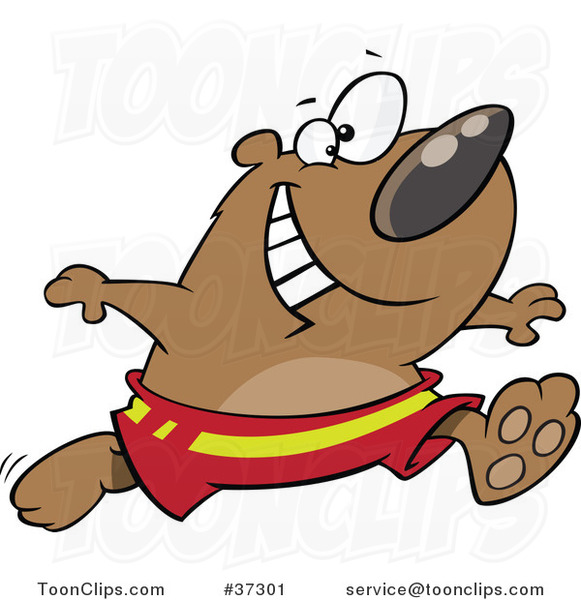 Cartoon Happy Bear Running in Swim Trunks