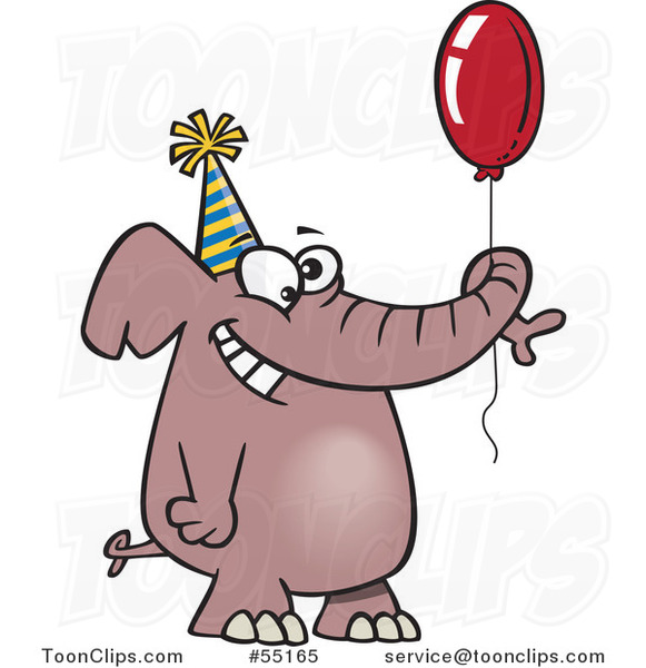 Cartoon Happy Birthday Elephant Holding a Balloon