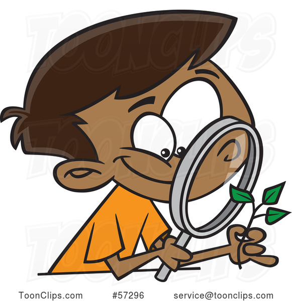 Cartoon Happy Black Boy Observing a Plant Through a Magnifying Glass