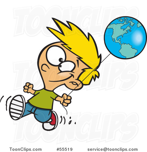 Cartoon Happy Blond Boy Walking with an Earth Day Balloon