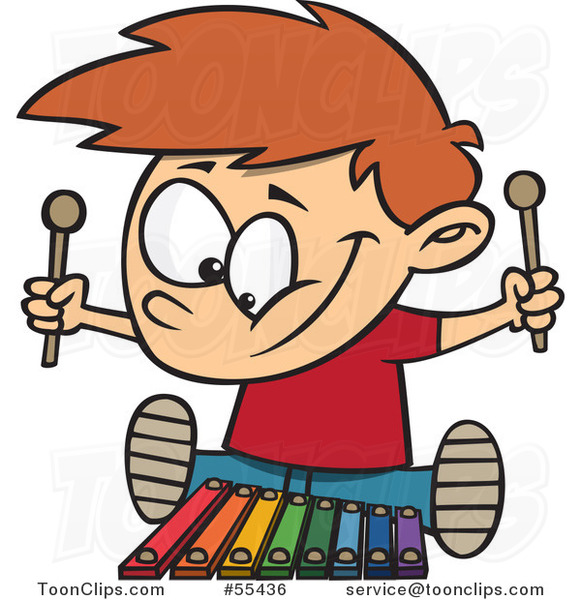 Cartoon Happy Boy Playing a Xylophone