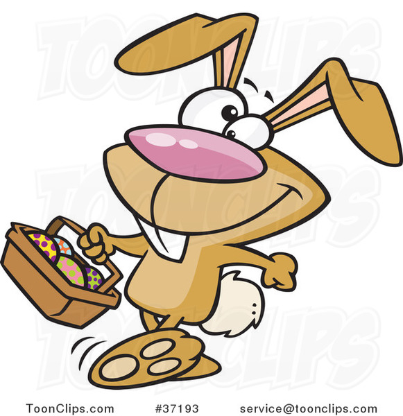 Cartoon Happy Brown Easter Bunny Carrying a Basket of Eggs