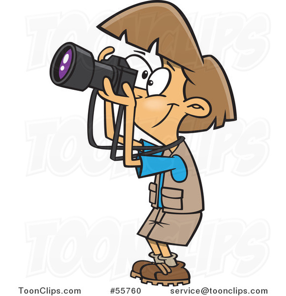 Cartoon Happy Brunette Lady Taking Pictures