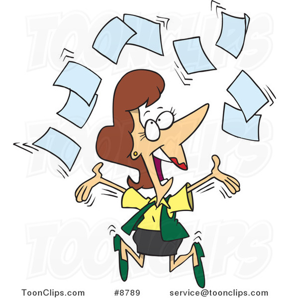cartoon happy business woman tossing paperwork 8789 by clip art hockey puck on ice clip art hockey pictures