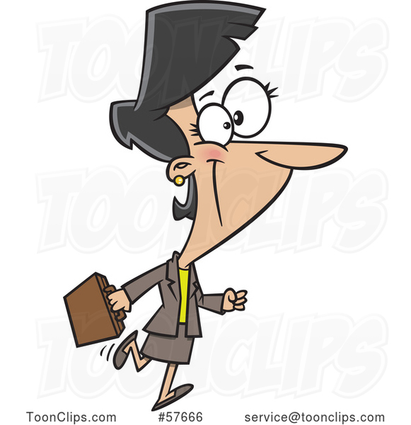 Cartoon Happy Businesswoman Walking and Carrying a Briefcase