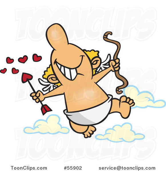 Cartoon Happy Cupid Holding a Bow and Heart Arrow