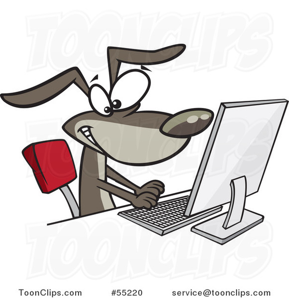 Cartoon Happy Dog Typing at a Computer