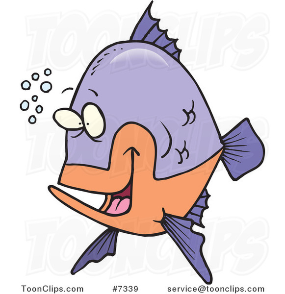 Cartoon Happy Fish with Bubbles