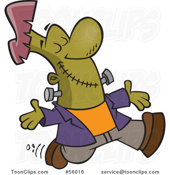Cartoon Happy Frankenstein Walking with His Arms Open and Face Upwards