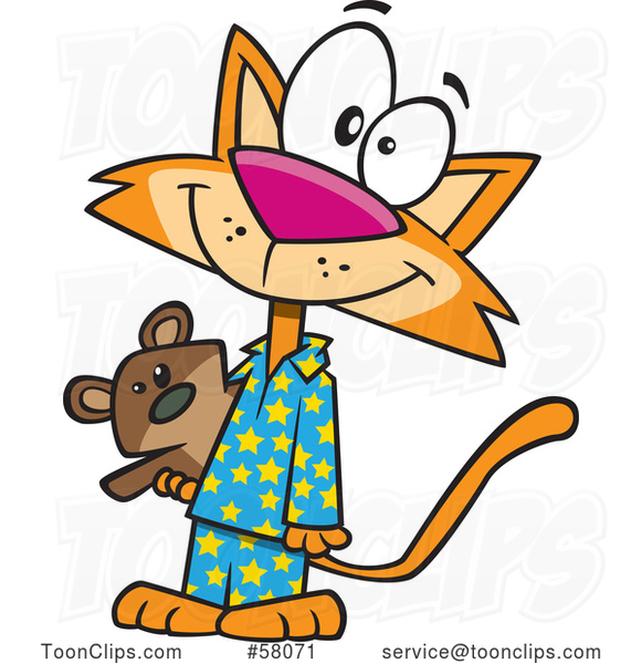 Cartoon Happy Ginger Cat Wearing Pajamas and Holding a Teddy Bear
