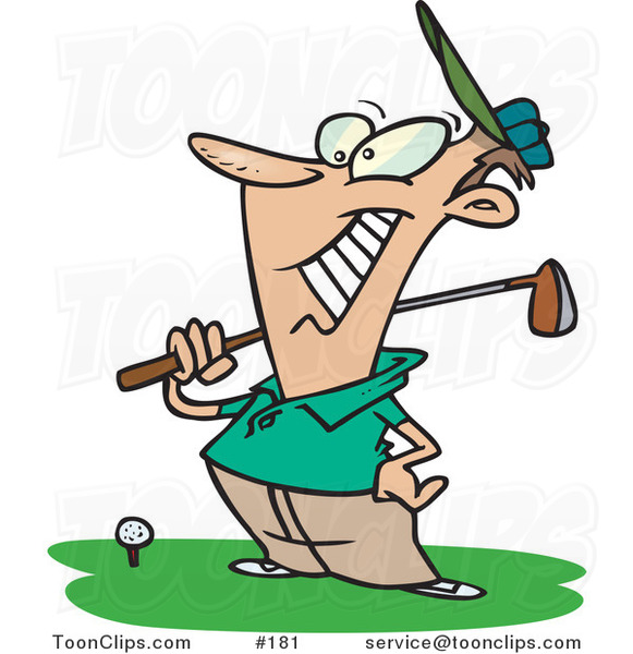 Cartoon Happy Golfer near a Ball, Holding His Golf Club