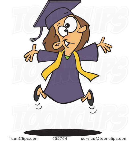 Cartoon Happy Graduate Girl Jumping