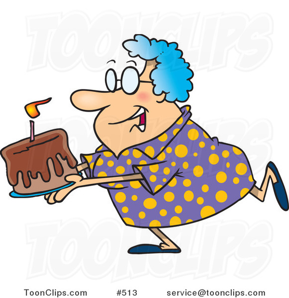 Cartoon Happy Grandma Carrying a Birthday Cake
