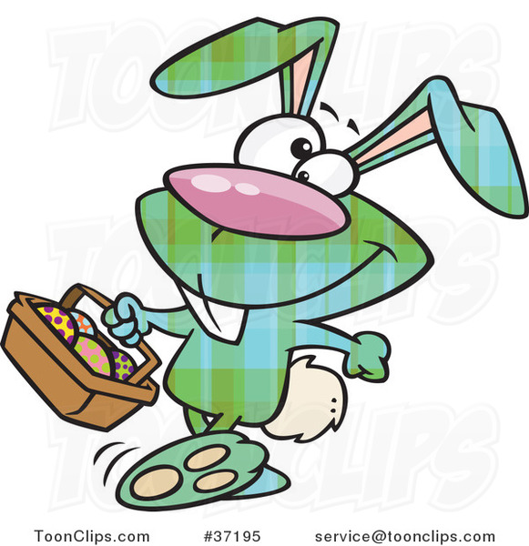Cartoon Happy Green Plaid Easter Bunny Carrying a Basket of Eggs
