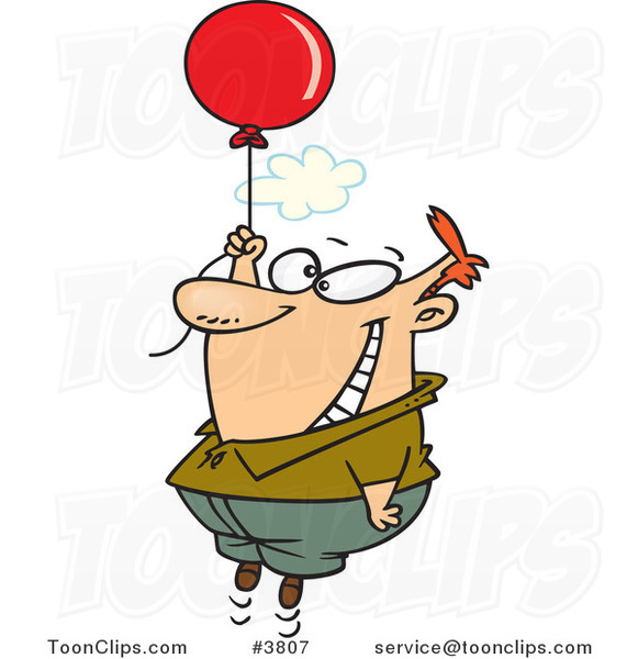 Cartoon Happy Guy Floating with a Balloon