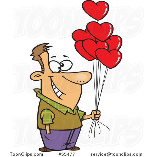 Cartoon Happy Guy Holding out Valentine Heart Balloons