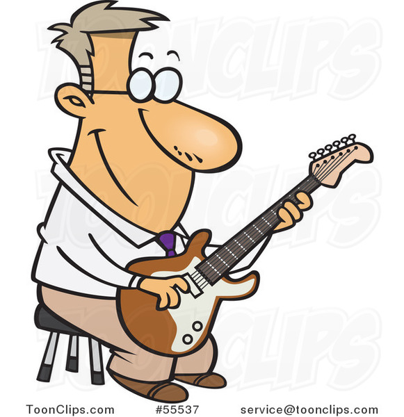 Cartoon Happy Guy Playing a Guitar on a Stool