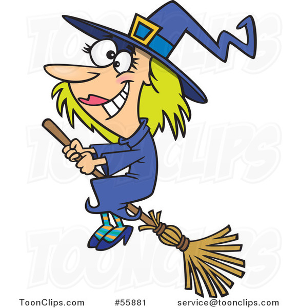 Cartoon Happy Halloween Good Witch Flying on a Broom