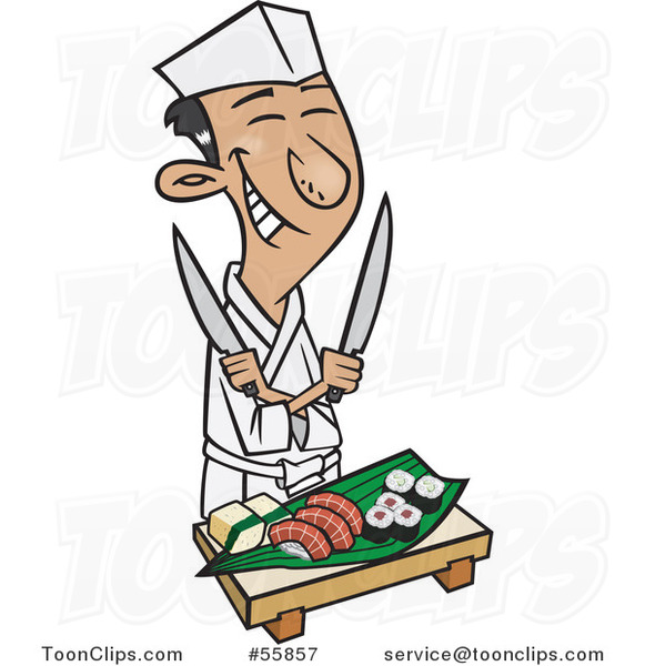 Cartoon Happy Japanese Chef Holding Knives over Sushi