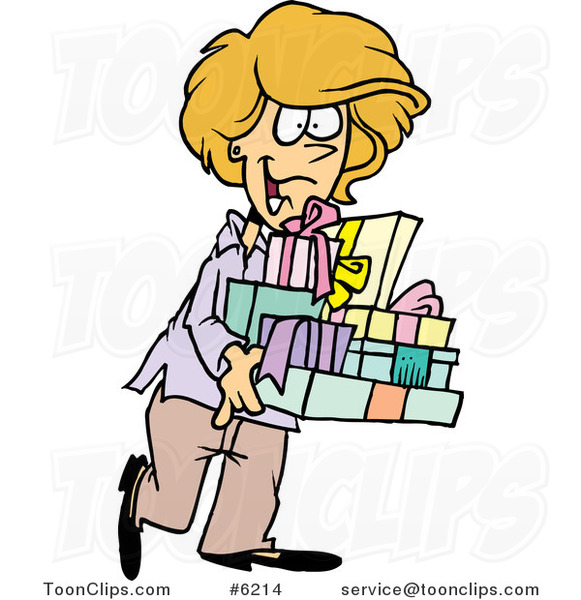 Cartoon Happy Lady Carrying Gifts