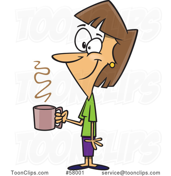 Cartoon Happy Lady Holding a Cup of Coffee on a Break