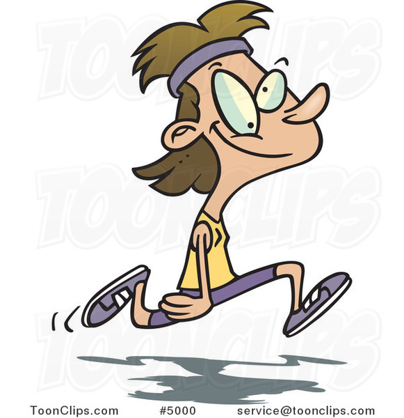Cartoon Happy Lady Jogger