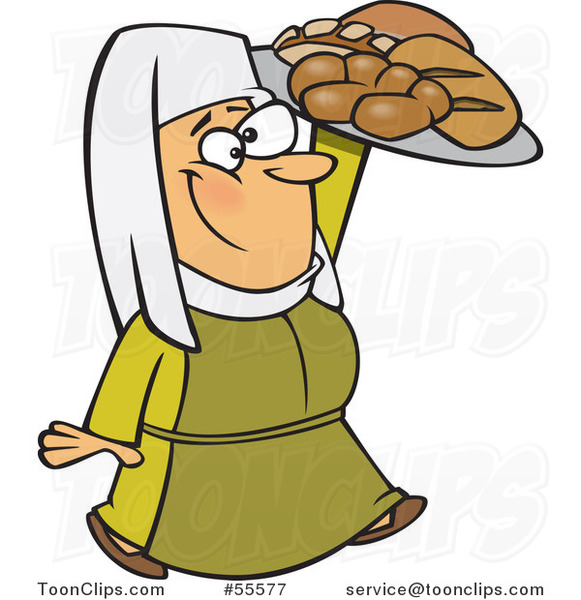 Cartoon Happy Medieval Castle Baker Lady Carrying Bread